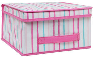 Laura Ashley Medium Collapsible Storage Box in Painterly Pink Stripe