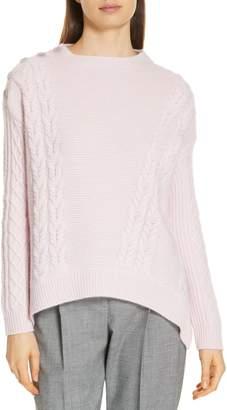 Lewit Cable Detail Button Shoulder Cashmere Sweater