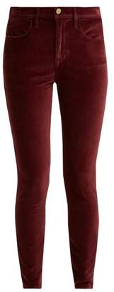 Frame Le Velveteen Cotton Blend Velvet Jeans - Womens - Burgundy