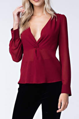 Honey Punch Long-Sleeve Twist-Front Blouse