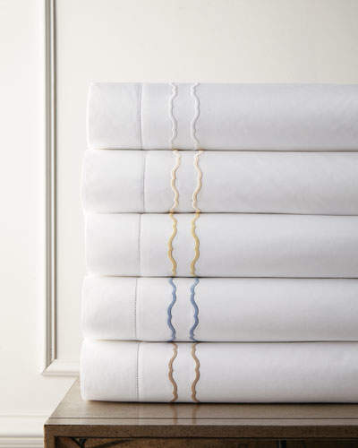 King 406 Thread Count Embroidered Percale Flat Sheet