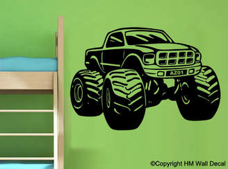 H&M Wall Decal Personalised Monster Truck Removable Wall Art Sticker