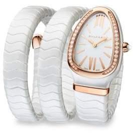Bvlgari Serpenti White Ceramic& 18K Rose Gold Double Twist Bracelet Watch - White