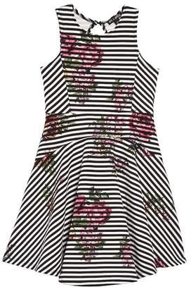 AVA AND YELLY Stripe Floral Skater Dress (Toddler Girls & Little Girls)