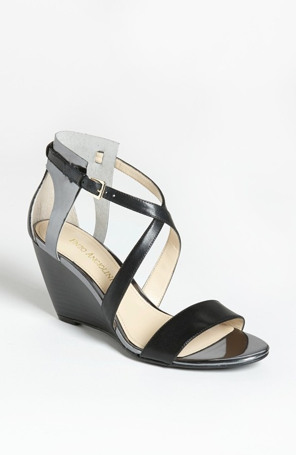 Enzo Angiolini 'McKinney' Wedge Sandal White/ Silver 8 M