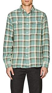 Rrl Men's Plaid Cotton-Linen Flannel Shirt-Cream Size M