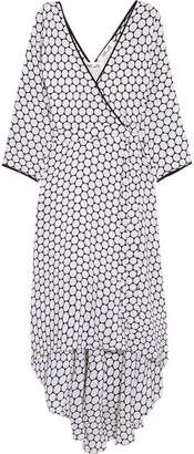 Diane von Furstenberg - Asymmetric Polka-dot Silk Midi Wrap Dress - White $530 thestylecure.com