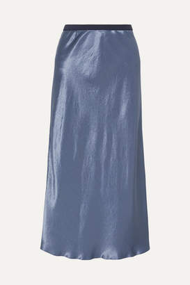 Max Mara Leisure Alessio Hammered-satin Midi Skirt - Blue