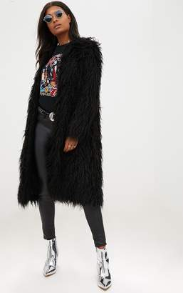 PrettyLittleThing Black Shaggy Longline Faux Fur Coat