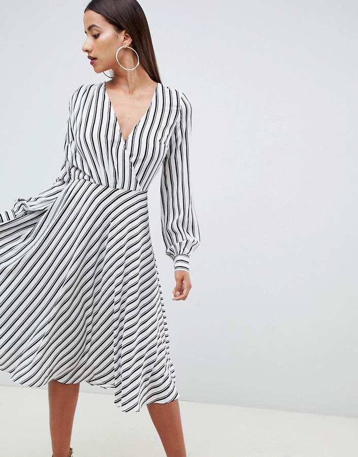 ASOS DESIGN v front v back midi dress in stripe