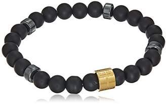 Men's Steeltime Lava And 18k Gold Plated Lord's Prayer Beaded Link Bracelet