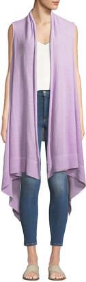 Donna Karan Linen Long Handkerchief Cardigan Vest