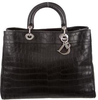 Christian Dior Christian Dior Crocodile Large Diorissimo Bag