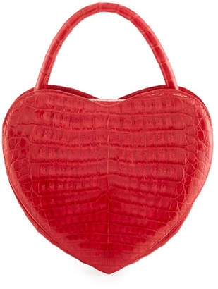 Heart-Shaped Crocodile Crossbody Bag