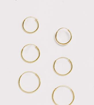 Asos DESIGN pack of 3 gold plated sterling silver hoop earrings