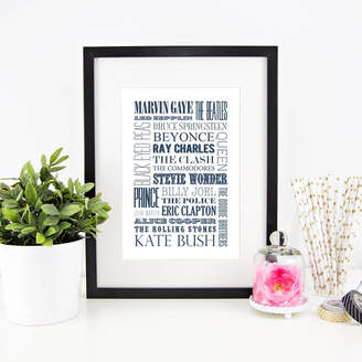 Quotography Personalised 'Favourite Music' Typographic Print