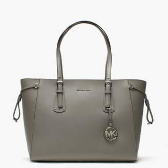 Michael Kors Voyager Pearl Grey Saffiano Leather Tote Bag
