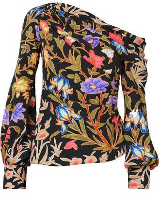 Peter Pilotto Asymmetric Floral-print Stretch-silk Cloque Blouse