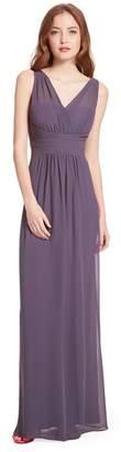 Paige Samantha V-Neck Illusion Pleated A-Line Chiffon Formal Dress