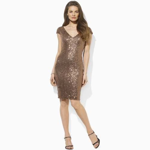 Ralph Lauren Sequin V-Back Dress