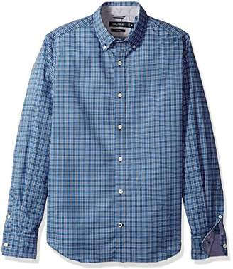 Nautica Men's Standard Ls Wrinkle Resistant Stretch Poplin Check Button Down Shirt