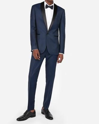 Express Extra Slim Navy Dobby Wool Blend Tuxedo Pant