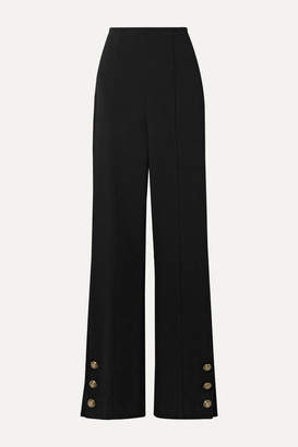 Oscar de la Renta Button-embellished Stretch Wool-blend Crepe Straight-leg Pants - Black