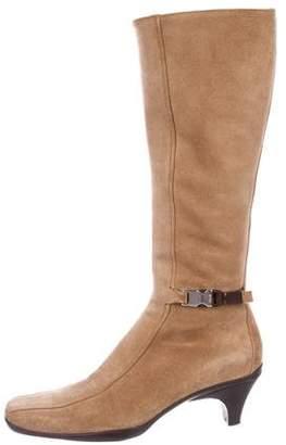 Prada Suede Square-Toe Boots