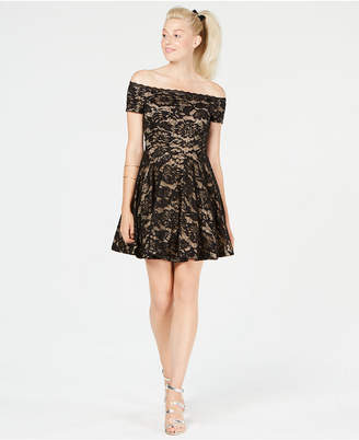 B. Darlin Juniors' Off-The-Shoulder Glitter Lace Dress