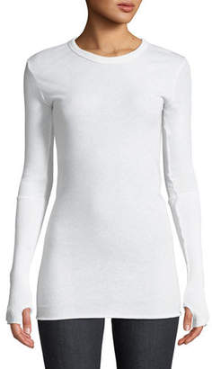 Enza Costa Cashmere Cuffed Long-Sleeve Pullover Sweater