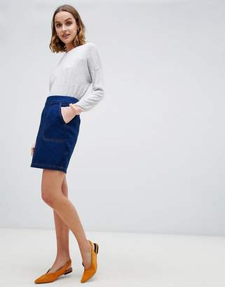Warehouse denim mini skirt in mid wash