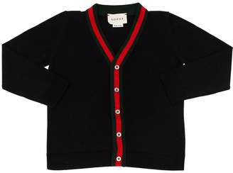 Gucci Web Trim Cotton Knit Cardigan