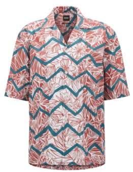 BOSS Hugo Regular-fit printed cotton shirt camp collar XL Open Red