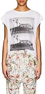 NSF Women's Photo-Print Cotton Sleeveless T-Shirt-White
