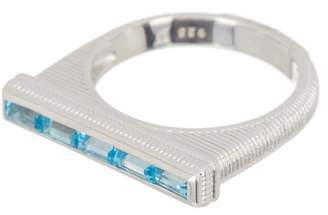 Judith Ripka Sterling Silver Flat Top Swiss Blue Topaz Baguette Stack Ring - Size 6