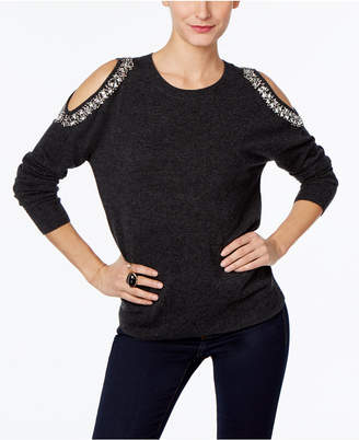 INC International Concepts Embellished Cold-Shoulder Sweater, Only at Macy's $79.50 thestylecure.com