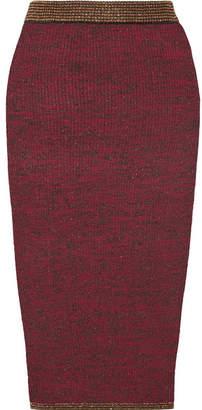 By Malene Birger Vivenda Metallic Ribbed Stretch-knit Midi Skirt - Burgundy