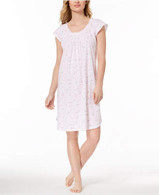Miss Elaine Floral-Print Picot-Trim Nightgown