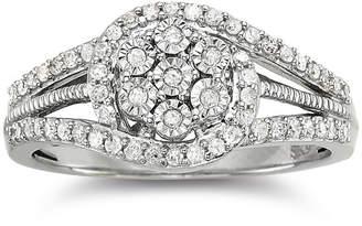 JCPenney FINE JEWELRY diamond blossom 1/3 CT. T.W. Diamond Cluster Sterling Silver Orbit Ring