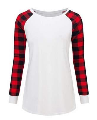 SELX Women Raglan Sleeve Plaid Stitching Crewneck Plus Size Blouse T-Shirt Tops US XL