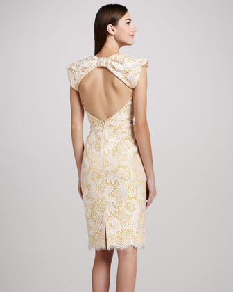 Badgley Mischka Lace Cocktail Dress with Open Back