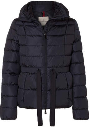 Moncler Belted Quilted Shell Down Jacket - Navy