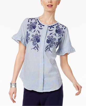 NY Collection Cotton Embroidered Blouse $50 thestylecure.com