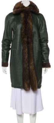Balenciaga Leather Fur-Trimmed Coat