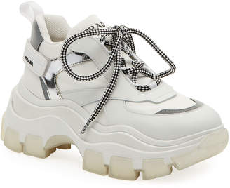 Prada Lace-Up Chunky Platform Hiking Sneakers