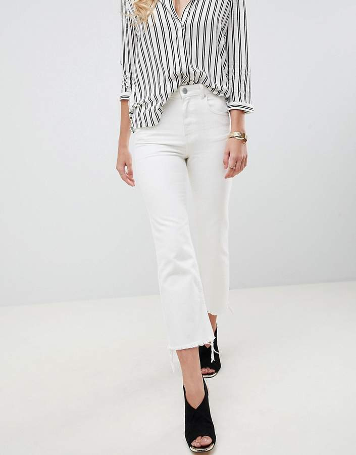 DESIGN Egerton rigid cropped flare jeans in off white with raw hem