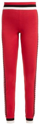 Fendi - High Rise Checked Wool Leggings - Womens - Red Multi