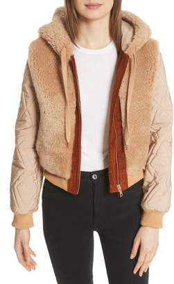 See by Chloe Genuine Shearling Mixed Media Bomber Jacket