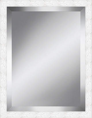 Asstd National Brand White Distressed Rustic Beveled Plate Mirror
