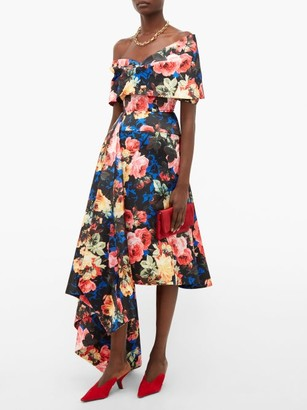 Richard Quinn Off The Shoulder Asymmetrical Floral Satin Dress - Womens - Blue Multi